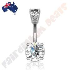 316L Surgical Steel Belly Ring with Large Round Prong Set Clear Cubic Zirconias