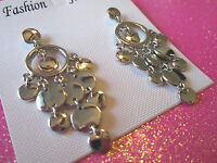 Silver Tone Circle Dangles Earrings 2 Inch