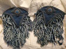 Vintage Glam Rock 80s Denim Rhinestone Pin-on Shoulder Pads Jean Jacket