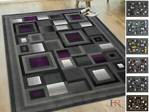 Area Rug For Living Room Bedroom Abstract Geometric Modern Squares Pattern Rug