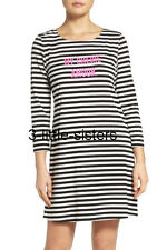 NWT Kate Spade Classic My Cherie Amour Night Shirt Nightgown L NEW Black Cream