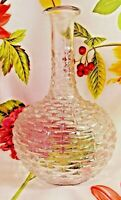 Charming Basket Weave Pattern Glass Liquor Decanter EUC Vintage Bar Bottle