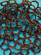 Retro Vintage Style Tinsel Christmas Garland - Red And Green