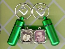 FHG,Memorial Urn,Keepsake Urn,Cremation Urn,Key Chain Urn,Green Urn