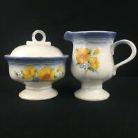 Lidded Sugar Bowl and Creamer Mikasa Country Club Amy Yellow Floral CA503 Japan