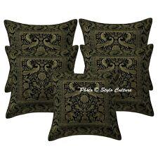 Bohemian Home Decor Cushion Cover Black Brocade Peacock Sofa Pillow Case Cover