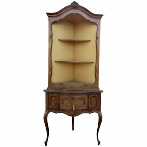 French Carved Walnut Antique Louis XVI Style Corner Étagère Cabinet C1920