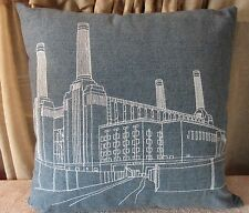 """Blue Denim 17"""" Throw Pillow Factory Buildings Road Embroidered Futon Company"""