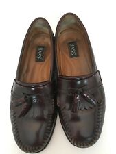 GH Bass Mens Burgundy Leather Slip On Tassle Loafers Shoes Size 9.5D