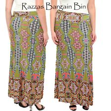 New Ladies Printed Olive Maxi Skirt Plus Size 16/2XL (1320)MO