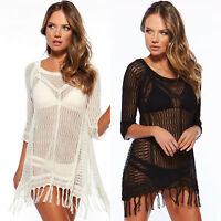 Women Lace Crochet Beach Bikini Cover Up Mini Dress Swimwear Bathing Suit Summer