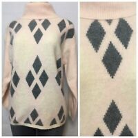 Richard and Company Lambswool Argyle Sweater Size S Light Pink Gray Beige