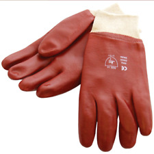 RED PVC HEAVY DUTY GLOVES - RUBBER COATED GAUNTLETS NEW BUILDERS GARDENING CHEAP