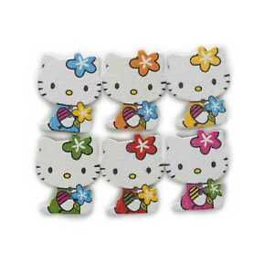 30pcs Cat Wood Buttons for Sewing Scrapbooking Clothing Headwear Decor 25x20mm