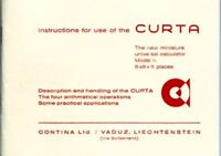 Curta Calculator Instruction manual for use of the Curta (booklet in english)