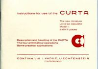 CURTA-Instructions for use of the Curta Calculator (booklet in english language)