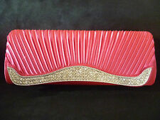 RUCHED DIAMANTE CLUTCH EVENING PROM FORMAL BAG PINK RED PURPLE NUDE BNWTS