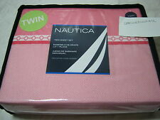 New Nautica Cambria Twin Sheet Set  Pink and White NIP Deep Pocket Fitted Sheet