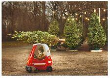 Cartolina: weihnachtsbaumtransport IM AUTO A PEDALI - TRASPORTO OF THE X-MAS