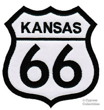 ROUTE 66 KANSAS iron-on MOTORCYCLE BIKER PATCH new ROAD SIGN embroidered