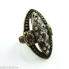 Vintage Style Stone Carved Shield Cross Cocktail Ring Siez 6 M Womens Jewelry