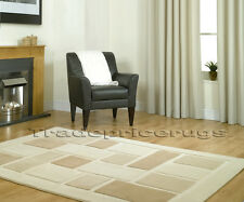 NEW SOFT THICK BEIGE BROWN COFFEE CREAM BLOCKS SQUARES MODERN RUG SALE 80x150
