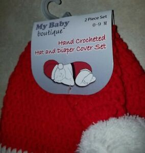 Newborn Baby Santa Hat and Diaper Cover Set--Hand Crochet--Photo Prop
