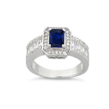 Natural Australian Blue Sapphire statement Sterling Silver Ring White gold over