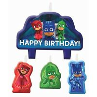 PJ MASKS BIRTHDAY PARTY CANDLE SET OF 4 PARTY FAVOURS SUPPLIES