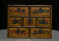 """10 """"Vieux bois de laque de Chine Carving Palace 7 tiroir meubles boîte à bijoux"""