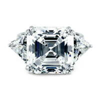 BERRICLE Sterling Silver Asscher Cut CZ 3-Stone Anniversary Engagement Ring