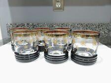 VINTAGE SET OF 6 GOLD TRIM SNOWFLAKE ROCKS GLASSES