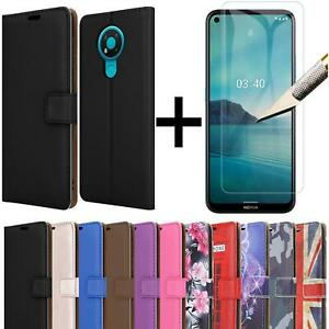 For Nokia 3.4 Case Leather Flip Wallet Stand Phone Cover + Screen Tempered Glass