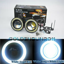 "2x High Power 3.0"" LED Fog Lights Projector with COB White Halo Angel Eye Rings"