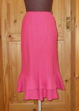 BODEN sorbet bright pink PURE LINEN fishtail frill summer holiday skirt 10L 38