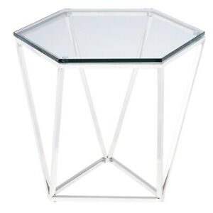 """23.5"""" L Set of 2 Hex Side Table Polished Stainless Steel Modern Tempered Glass"""