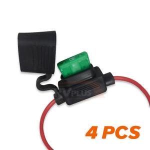 4x 12V DC Blade Fuse Holder inline Standard Auto/Car/Truck ATS Blade Fuse 30 Amp