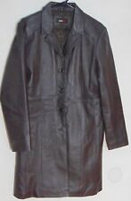 Studio Y Women's Brown Button Down Quilted Lining Leather Trench Coat Size M