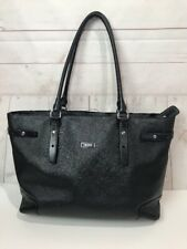 Tumi Black Leather Carry On Tote Business Bag Large Silver Hardware