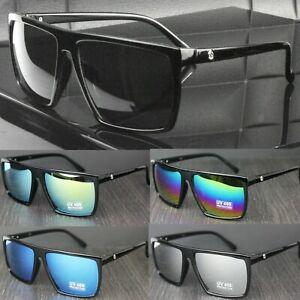 Mens Flat Top Rectangular Lens Sunglasses UV400 Lens