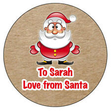 48 x Personalised Christmas Stickers Santa Father Christmas Present Kraft - 927
