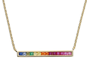 GOLD RAINBOW NECKLACE 18ct YELLOW GOLD ON 925 STERLING SILVER SAPPHIRE PENDANT