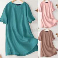 ZANZEA Women Summer Solid Casual Tee T-Shirt Top Short Sleeve O-Neck Blouse Plus