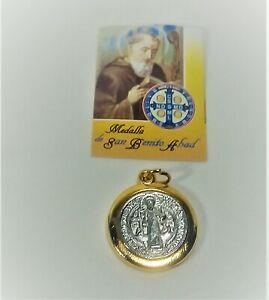 """Medalla De San Benito Abad1.5""""  St Saint Benedict Silver /Gold Two Tone"""