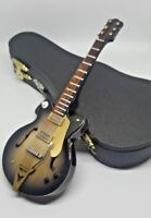 """Miniature 7"""" Electric Guitar With Stand & Case - Collectible Wood Guitar"""