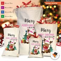 Personalised Childrens Santa Sack Christmas Bag Cartoon Cute Reindeer Red