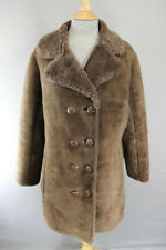 VINTAGE 70's DARK BROWN SUEDE LEATHER SHEEPSKIN LINED DOUBLE BREASTED COAT 38 IN