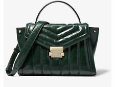 🌺🌹  Michael Kors Whitney Quilted Patent Leather TopHandle Satchel Racing Green