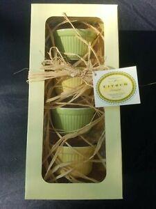 NIB Williams Sonoma Citrus Ramekins set of 4 Yellow Green Dishwasher Safe