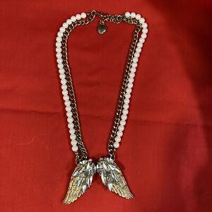 Betsey Johnson Rhinestone Angel Wings Choker Necklace